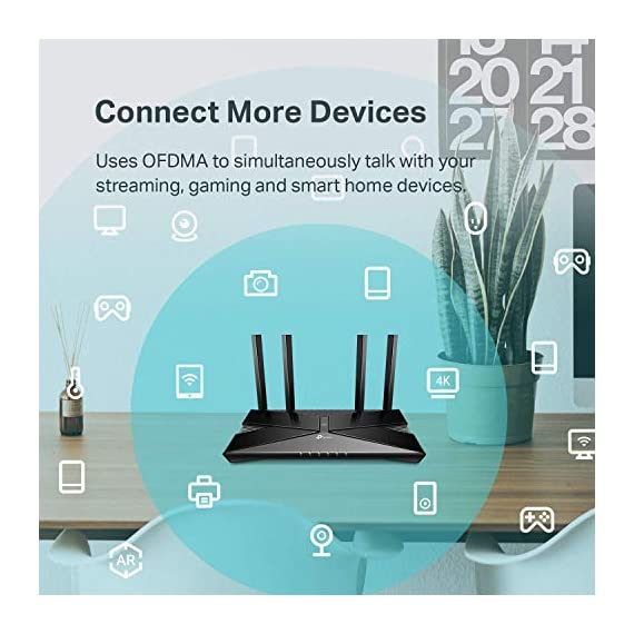 TP-Link WiFi 6 Router – 802.11ax Router, Gigabit Router, Dual Band, OFDMA, Parental Controls, Long Range Coverage… 5 JD Power Award ---Highest in customer satisfaction for wireless routers 2017 and 2019 Wi-Fi 6 Router: Archer AX10 comes equipped with latest wireless technology WiFi6 featuring OFDMA 1024-QAM, drastically increasing the speed and efficiency of the entire network. Next-gen Dual Band router – 300 Mbps on 2. 4 GHz (802. 11n) + 1201 Mbps on 5 GHz (802. 11ax)