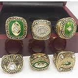 NFL pour Green Bay Packers 6 pièces bague de championnat Set réplique Super Bowl 8-12 taille Fan souvenirs mouvement rugby Anneau avec boîte en bois, 11