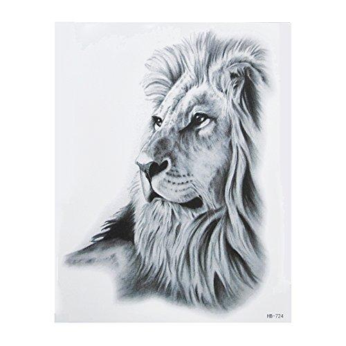HB724 Tatouage noir motif lion pour bras