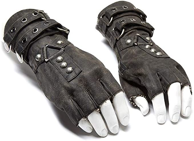 Steampunk Accessories | Goggles, Gears, Glasses, Guns, Mask Punk Rave Steampunk Fingerless Motorcycle Faux Leather Gloves for Men Accessories  AT vintagedancer.com