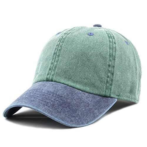 The Hat Depot 100% Cotton Pigment Dyed Two Tone Low Profile Six Panel Cap Hat (Green Navy)
