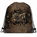 Drawstring Backpack String Bag 14X16 Machinery Brown Aged Steam Punk Technical Rusty Industrial Autumn Clock Metallic Detail Engine Graphic Steel Sport Gym Sackpack Hiking Yoga Travel Beach