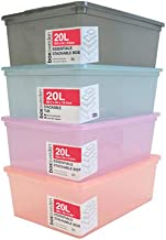 12 x COLOUR PLASTIC STORAGE BOX WITH LID 20L Stackable Home Boxes Bins Tubs Tote Home Organisation Plastic Storage Contain...