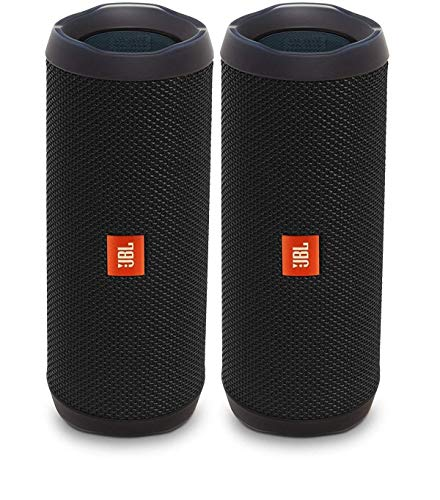 JBL Flip 4 Waterproof Portable Wireless Bluetooth Speaker Bundle - (Pair) Black