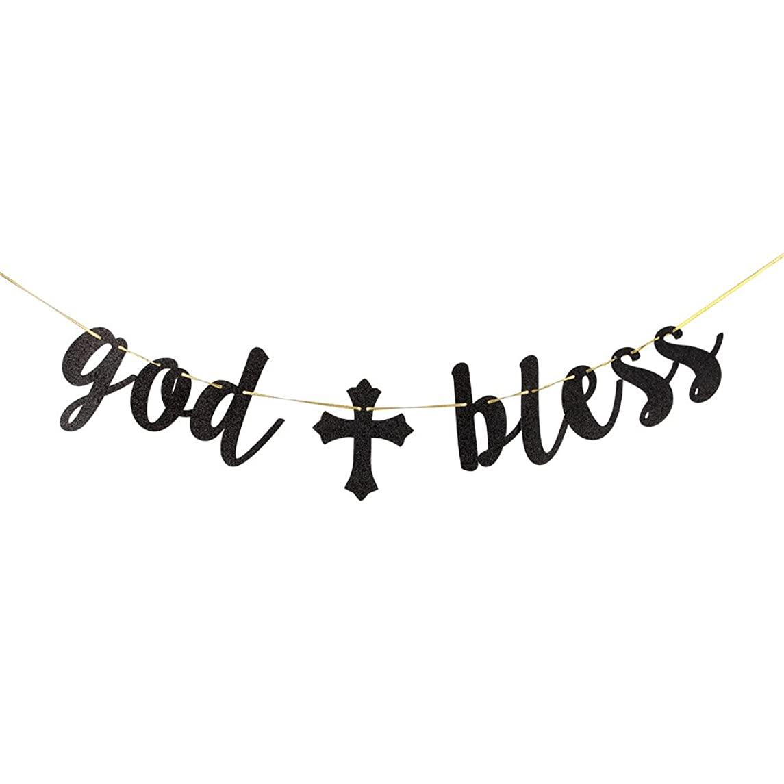 INNORU Black Glitter God Bless Banner - Communion Party Banner, Baptisim Christening - First Baby Shower Decoration