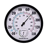 Gaoominy 10 inch Indoor Outdoor No Battery Weather Thermometer Hygrometer Wall Hygrometer