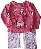 Hello Kitty - Niños Niñas Mangas Largas Ropa para Dormir Set - Rosa, Blanco Talla 128