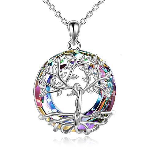 Baum des Lebens Halskette, 925 Sterling Silber Göttin Baum Anhänger mit Kristall von Austria, AOBOCO Schmuck Geschenke für Frauen (Silber Purple Crystal)