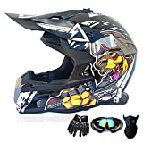 TTJZ Offroad Helmet Youth Kids Motocross Gear Combo Mask Goggles Gloves,War Dog ATV Motorcycle Helmet SUV Dirt Bike Mountain Bike Helmet,White,M