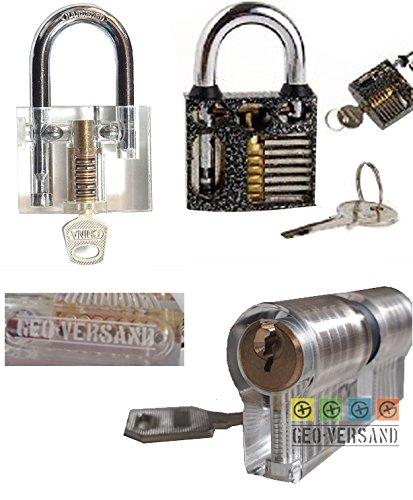 3er Set Lock Picking Übungsschloss Haustür deutsch incl. Bügelschloss Vorhängeschloss Manipulationszylinder Schlüsseln. Sichtfenster aufgefräst Schlösser knacken - Hobby - Übungsschloss - Geocaching