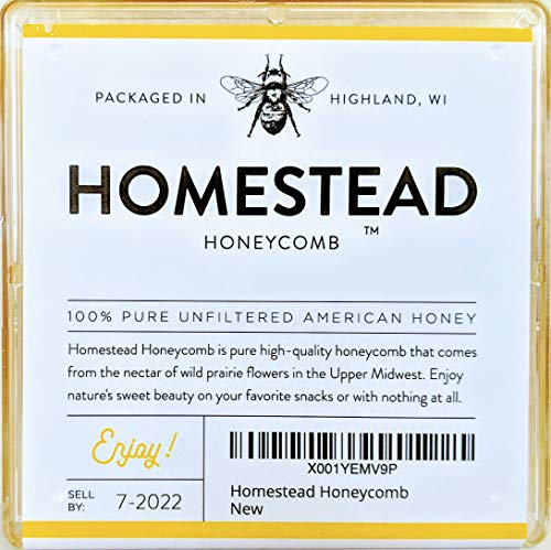 Homestead Raw Honeycomb (1 Pound), Real American Comb Honey for Eating, Locally Sourced in Wisconsin