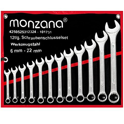 Schraubenschlüssel Set | Stahl | inkl. Rolltasche | 12tlg. | 6-22mm | Maulschlüssel Ringschlüssel Maulringschlüssel
