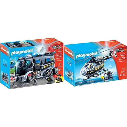 Playmobil 9360 - SEK-Truck mit Licht und Sound Spiel &  9363 - SEK-Helikopter Spiel