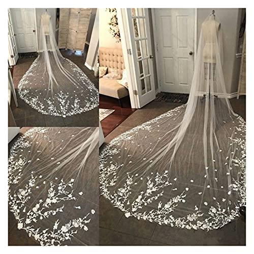 xuyang Velos de novia largos de estilo catedral, velo de novia de encaje con flores, borde apliques, velos de boda de lujo blanco marfil (color: blanco roto, longitud del artículo: 300 cm)