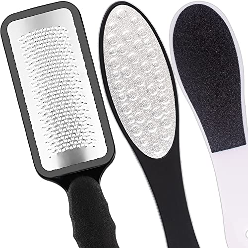 Foot Files Stainless Steel Pedicure and Dual Sided Foot File Hard Skin Remover Professional Foot Care Tool for Hard Skin and Dry Cracked Feet Scraper - 3pcs/Set
