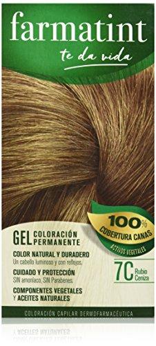 Farmatint Gel 7C Rubio Ceniza | Color natural y duradero | Componentes vegetales y aceites naturales | Sin amoníaco | Sin parabenos | Dermatológicamente testado