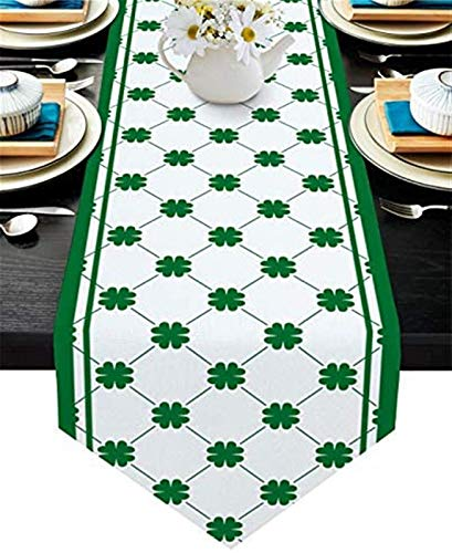 VJRQM Chemin de Table en Toile de Jute Foulards antidérapants pour Le dîner en Famille Table de Cuisine à Manger,St. Patrick's Day Shamrock Plaid Texture Vert Cadre Blanc,13x70 Pouces