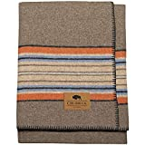 Chubbuck, Thick Wool Blanket, Warm, Striped, Camp Blanket, Large 60' x 84', Outdoor Survival