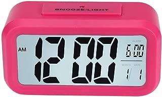 AKIMPE Alarm Clock Digital Bell Beep Dual Large LED Display with FM Radio Color Night Light Backlight Dimmer Battery Snooze Travel for Bedrooms Sunrise Simulation Desk Hot Pink