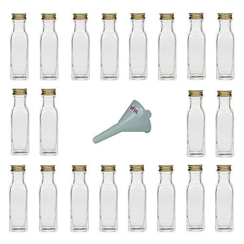 Viva Haushaltswaren - 20 x Glasflasche 100 ml mit Schraubverschluss, leere Flaschen zum Befüllen als Ölflasche, Schnapsflasche, Einmachflasche etc. verwendbar (inkl. Trichter Ø 5 cm)