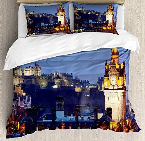 ABAKUHAUS Schotland Dekbedovertrekset, Close-up van Clocktower, Decoratieve 3-delige Bedset met 2 Sierslopen, 230 cm x 220 cm, Veelkleurig