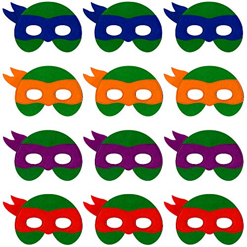 Ninja Turtle Masks for Kids - 12 Felt Toy Masks, Best Birthday Party Ninja Turtles Supplies Favors for Goodie Bag, Gifts, etc