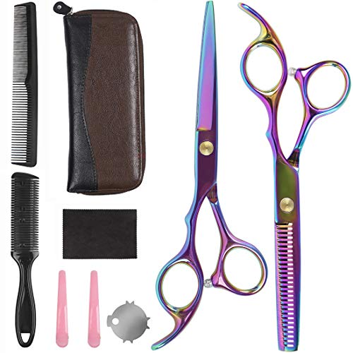 Professional Hair Cutting Scissors Set - Mansso 9 Pcs Hairdressing Scissors Kit, Hair Cutting Scissors, Thinning Shears, Hair Razor Comb, Clips, Scissors cloth,Leather Scissors Case,Professional Barbe