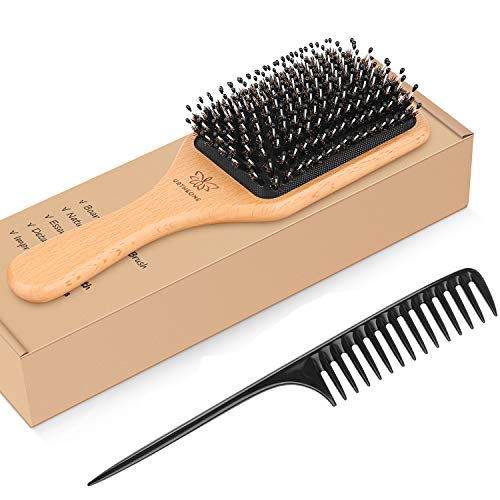 Hair Brush Boar Bristle Hairbrush for Thick Curly Thin Long Short Wet or...