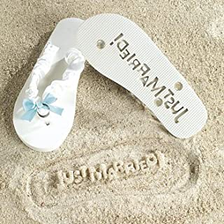 Just Married Flip Flops - Stamp Just Married in the sand! Size 9-10