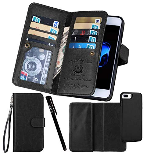 for iPhone 7 Plus / 8 Plus Case, Urvoix Wallet Leather Flip Card Holder Case, 2 in 1 Detachable Magnetic Back Cover with Hand Strap for iPhone 7Plus / 8Plus(5.5 inches Display) Black