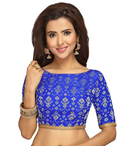 STUDIO Shringaar Benaras Brocade Readymade Saree Blouse With Elbow Length Sleeves (Royal Blue, 34)