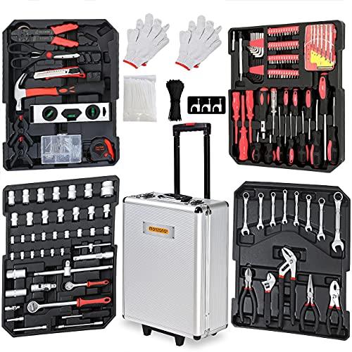Monzana Caja de herramientas XXL 899 Piezas Maletín de herramientas Portátil completo con ruedas