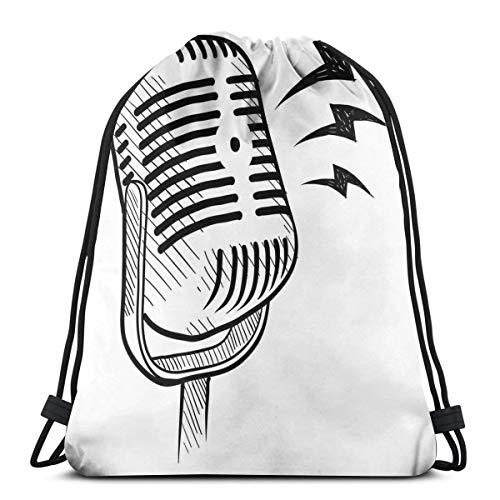 Jiger Drawstring Tote Bag Gymnastiektas, retro microfoon-communicatie en media concept radio show speech talk podcast, hoge kwaliteit, voor volwassenen en kinderen