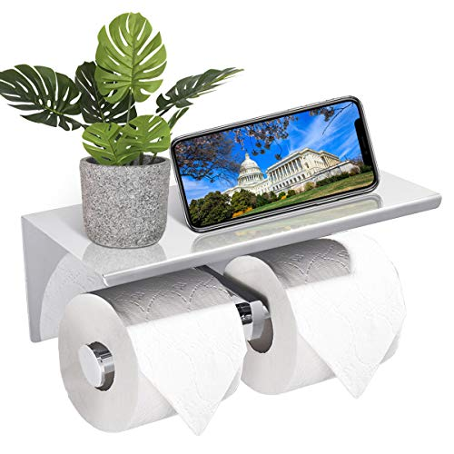 GEMITTO Toilet Paper Holder with Shelf, 304 Stainless Steel Double Toilet Rolls Tissue Holder for Bathroom, with Phone Tray, Easy to Install, Wall Mounted, for Home or Commercial Setting (Silver)