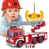 GRTVF Radio Control Rescue RC Camion de Pompiers Camion de Pompiers télécommandé Le Jouet for garçons et Filles avec lumières Siren et Extension d'échelle (Color : Ladder Truck)