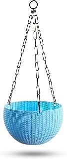 GARDENS NEED 100% Virgin Plastic Euro Plastic Basket | Set of 4 Hanging Planter, (22cm x 22cm x 24cm, Sky Blue)