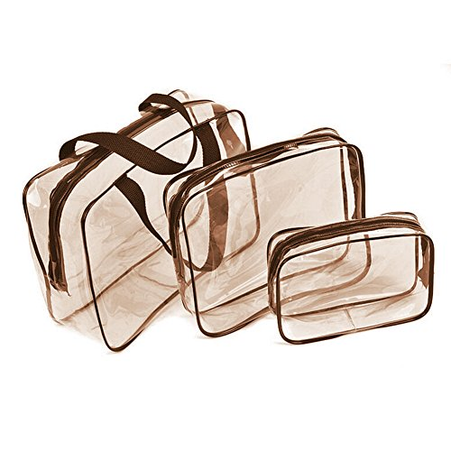 Kulturbeutel Transparent, Kulturbeutel,Reisetasche,Carry-On Kulturbeutel, 3 in 1 Geschenk Make-up Taschen Fällen Plastiktüte Klar PVC Reisetasche Bürsten Veranstalter für Männer und Frauen Reisen
