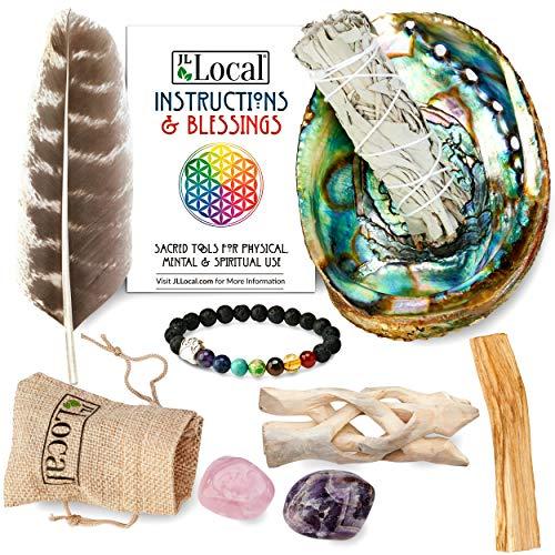 JL Local Aura Chakra Smudging Kit - White Sage Smudge Sticks, Palo Santo, Amethyst, Rose Quartz, Abalone Shell, Stand & Chakra Bracelet