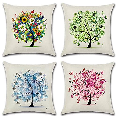 KaiXINSun Throw Pillow Fundas Paquete De 4 Funda De Almohada De 18X18 Pulgadas Funda Decorativa para Sofá De Casa Cuadrada Cremallera Invisible 45X45Cm Patrón De Árbol Multicolor