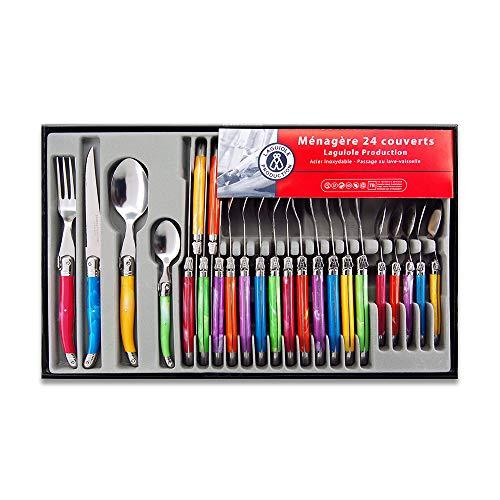 Laguiole Production - Ménagère 24 pièces multicolore - Set de couverts de table acier inox et ABS pour 6 personnes - Présentation coffret cadeau