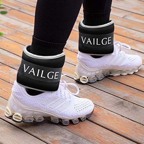 Vailge Ankle Weights Women Men Wrist Weights, Leg Weights 0.5kg 1kg 1.5kg 2kg for Running Walking Jogging Gym Fitness Exercise Aerobics, Neoprene Ankle Weight (Black, 1 kg (x2))