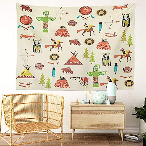 Y·JIANG Tapiz de bisonte, indios americanos nativos del norte Wigwam flecha para el hogar, tapiz grande decorativo, manta ancha para colgar en la pared para sala de estar, dormitorio, 60 x 50 pulgadas