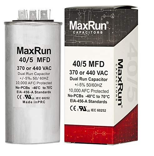 MAXRUN 40+5 MFD uf 370 or 440 Volt VAC Round Dual Run Capacitor for Air Conditioner or Heat Pump Condenser - Runs AC Motor and Fan