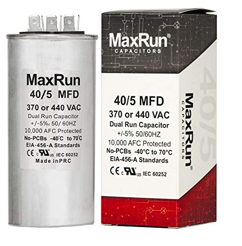 MAXRUN 40+5 MFD uf 370 or 440 Volt VAC Round Dual Run Capacitor for Air Conditioner or Heat Pump Condenser - Runs AC Motor and Fan – 5 Year Warranty