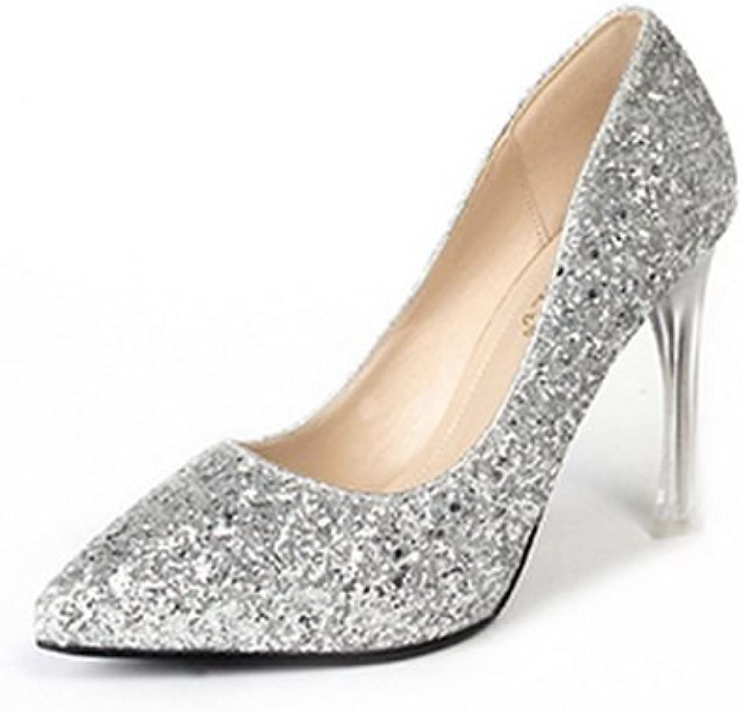 1TO9 Womens Glitter Spikes Stilettos Low-Cut Uppers Urethane Pumps shoes