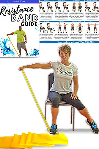 Resistance Band for Seniors: Exercise Band specifically Created for Seniors with Light Resistance and Longer Length + Instruction Guide. Latex Free. Exercise , Stretching , Physical Therapy