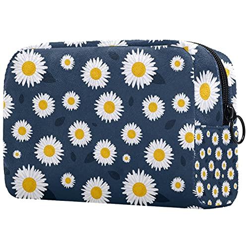 Neceser de viaje fácil organización para hombres o mujeres margaritas flor blanco amarillo gris oscuro 20,8 x 7,9 x 8,9 cm