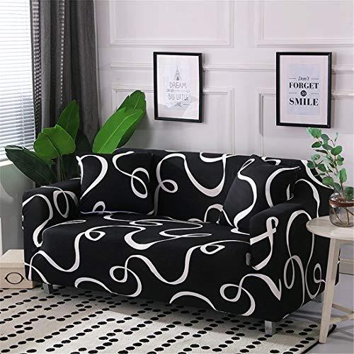 Chickwin Funda de Sofá Elástica, Protector para Sofás Cubre Sofá Universal Se Adapta a Toda la Tela Cubierta de Muebles Elegante y Duradera para Asientos (2 plazas: sofá 145-185 cm,Negro)