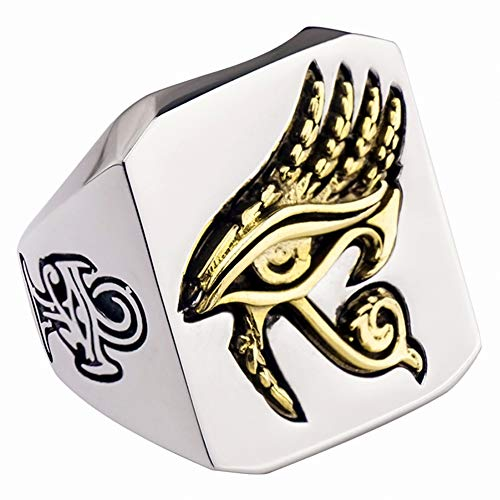 Dixinla Men Gothic Egyptian Horus Eye Ring, Retro Punk Trendy Hip Hop Handcrafted Symbol Single Index Finger Ring Amulet Wedding Party Birthday Christmas Ring Jewelry,10