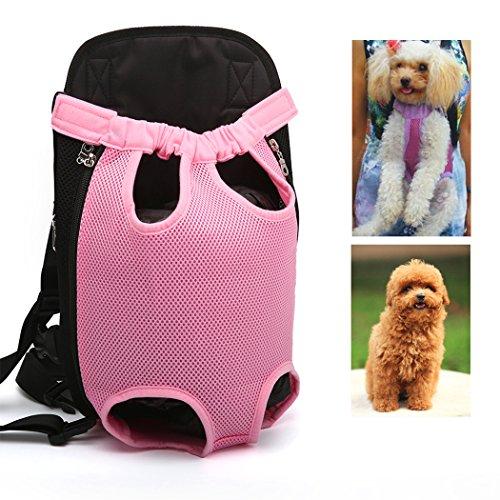 Xiaoyu Pet Carrier hundetasche Träger Bag Haustier Transporttasche Brust Backpack Reise Tragbar Puppy Atmungsaktive Durable-Beine heraus Bag Haustier Hunde Katzen Tragetasche, pink, L